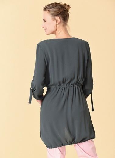 Knit&Co Şal Yaka Beli Büzgülü Ceket Haki
